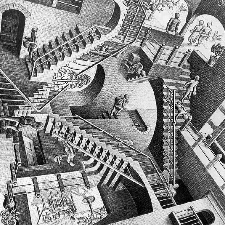 a description of though mc escher on virtually nothing about mathematics
